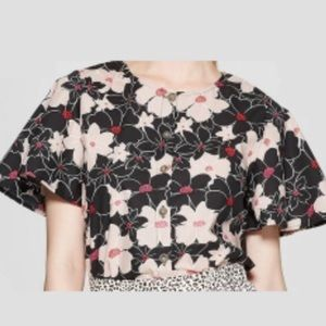 Who What Wear Floral button front blouse size S